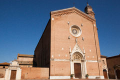 Italian church. Front of a Church in Tuscany, Italy with blue sky background Stock Photography