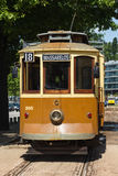 Front of city trolley at a trolley stop in Porto, Portugal Royalty Free Stock Image