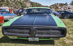 Front of the classic car in black and green royalty free stock photo