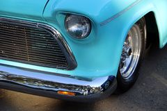 This is the front of A classic car headlight at a Car show in Napa Valley royalty free stock images