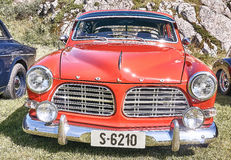 Front of the classic car in red royalty free stock photography