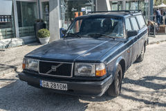 Front of classic Swedish Volvo 240 hatchback parked. Classic Swedish Volvo 240 car parked in Gdynia, northern Poland royalty free stock photography