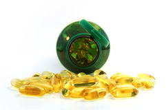 Front close up of fish oil caplet Stock Image