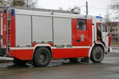 Front close up view of a fire rescue brush fire truck stock photo