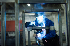 Front close-up of a worker wearing protective gear Royalty Free Stock Photography
