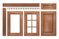 Front collection of  wooden doors, drawer, column, cornice for kitchen cabinet Stock Image