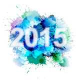 2015 in front of colorful splashes. Background vector illustration