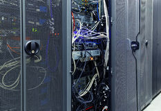 Front communication equipment with the innards in a series of data center Stock Photo