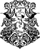 Front composition with flowers, birds. Ornaments black and white graphics, artwork for tattoo, fabrics, souvenirs, packaging, greeting cards and scrapbooking Stock Images