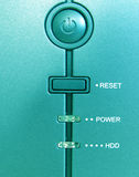 Front of a computer. Reset button on the front of a computer Royalty Free Stock Images
