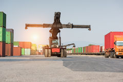 Front cranes or forklift working with container Royalty Free Stock Photos