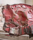 Front of the crashed red car Royalty Free Stock Image