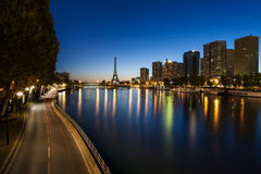 Front de Seine and Eiffel tower at blue hour, Pari Stock Photo