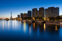 Front de Seine and Eiffel tower at blue hour, Pari Royalty Free Stock Image