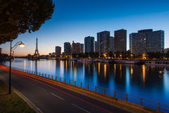 Front de Seine and Eiffel tower at blue hour, Pari Stock Photos