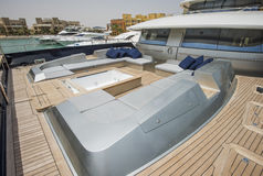 Front deck of a large luxury yacht with jacuzzi Royalty Free Stock Photography