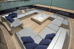 Front deck of a large luxury yacht with jacuzzi Stock Image
