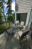 Front Deck With Outdoor Table Stock Photo