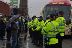 Front Demonstration national avec la grande présence policière Photo libre de droits