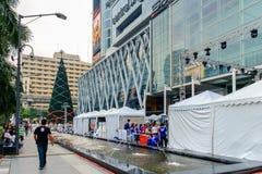 Front der zentralen Welt mit Festival- und Weihnachtsdekoration Lizenzfreies Stockfoto