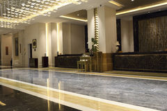 The front desk of the hotel and the lobby Royalty Free Stock Images