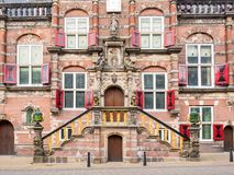 Front detail of town hall in Bolsward, Friesland, Netherlands. Main entrance and front facade of town hall in historic old town of Bolsward, Friesland Stock Photos