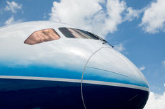 Front detail of wide-body airplane Stock Photo
