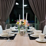 Front of Dinner Set on table Stock Photography