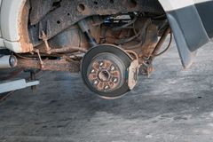 Front disc brakes in removable cars for changing tires. Detail royalty free stock image