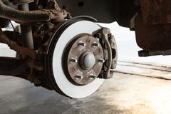 Front disc brakes in removable cars for changing tires. Detail stock images