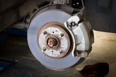 Front Disk brake assembly on a car Royalty Free Stock Photos