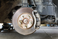 Front disk brake on car Royalty Free Stock Photo