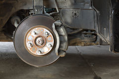 Front disk brake on car Royalty Free Stock Images