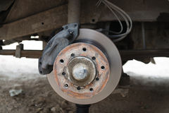 Front disk brake on a old car Stock Images
