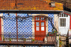 Front Door and Azulejo Wall of Old House in Porto Stock Image