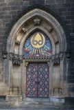 Front door of basilica of St Peter and St Paul  in Vysehrad  in Stock Photo