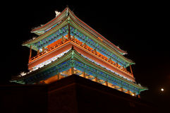 The Front Door of China Empire. This gate is the national gate of China in beijing. The light on the gate is pretty in the night Stock Images