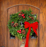 Front door with Christmas decorations Royalty Free Stock Image