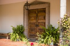 Front door with decorative plants Royalty Free Stock Image