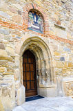 Front door detail church Borzesti Romania Royalty Free Stock Photos
