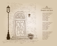 Front door European house. Elegant London townhouse. Vintage sty Royalty Free Stock Photography