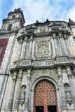 Front Door Facade Santo Domingo-Kerk Mexico-City Mexico royalty-vrije stock foto's