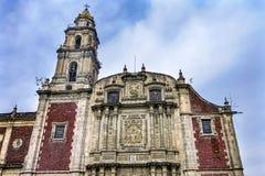 Front Door Facade Santo Domingo-Kerk Mexico-City Mexico royalty-vrije stock afbeelding
