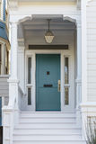 Front door, front view of front blue door stock photography