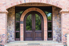 Front Door Home Arch Stone Wood Stock Photography