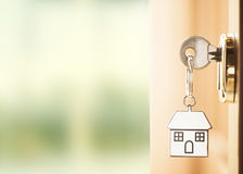 Front door with house keys Royalty Free Stock Photos