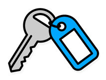Front door key with a blue plastic tag Royalty Free Stock Image