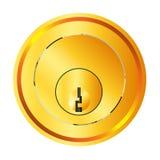 Front Door Lock de cobre amarillo Imágenes de archivo libres de regalías