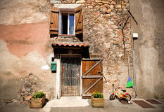 Front door of a mediterranean village house Royalty Free Stock Images