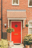 Front door of newly built house Stock Photo